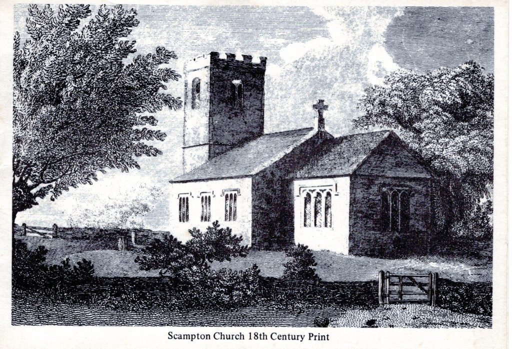 Taken from an 18th century print of Scampton Church