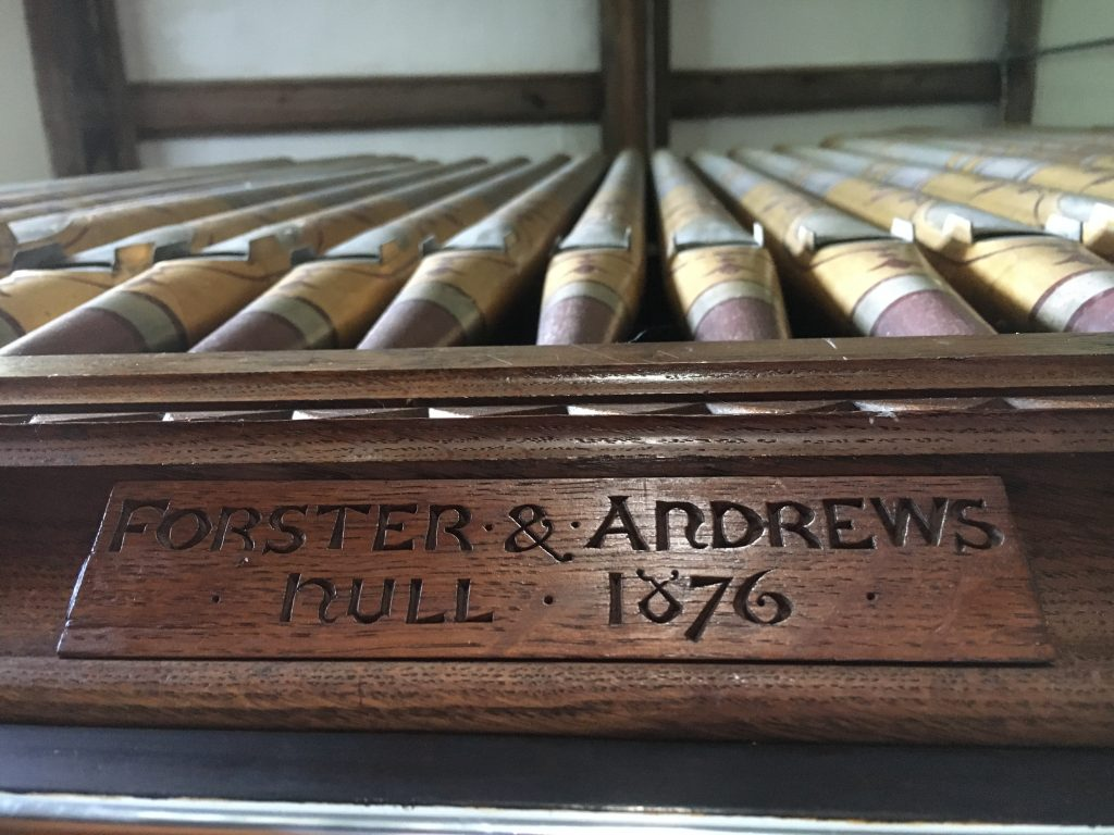 Church organ  - highly decorated and made by Forster & Andrews Hull.
