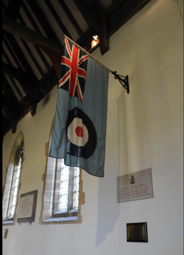 The RAF stained glass window will be on the South side of the church adjacent to the RAF flag.
