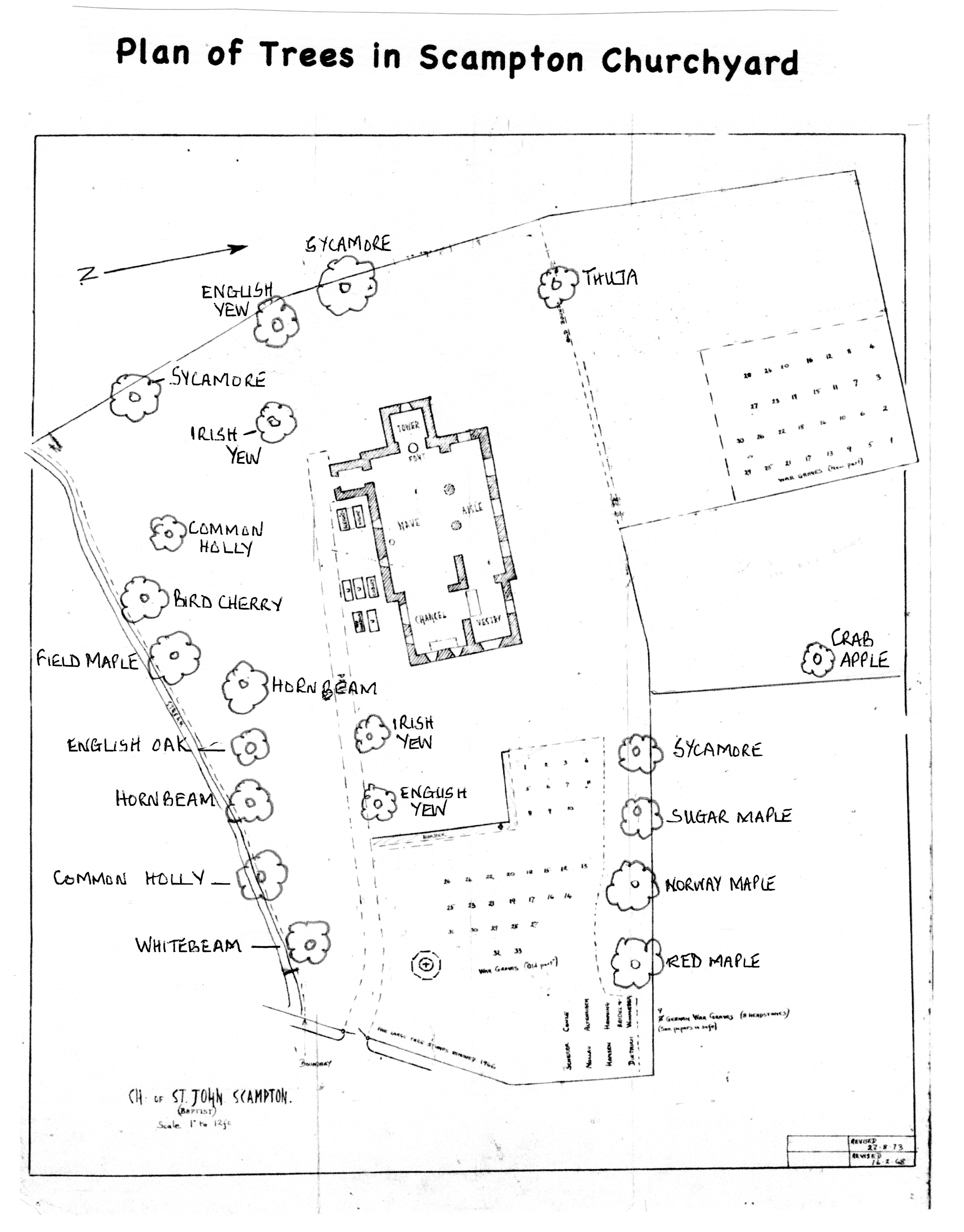 Trees in churchyard plan